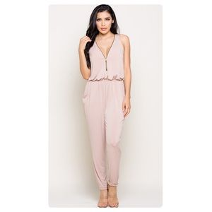 Pants - CARLI Zipper Front Jumpsuit in Blush/Taupe